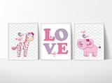 Giraffe and Elephants ~ Love~ Pink
