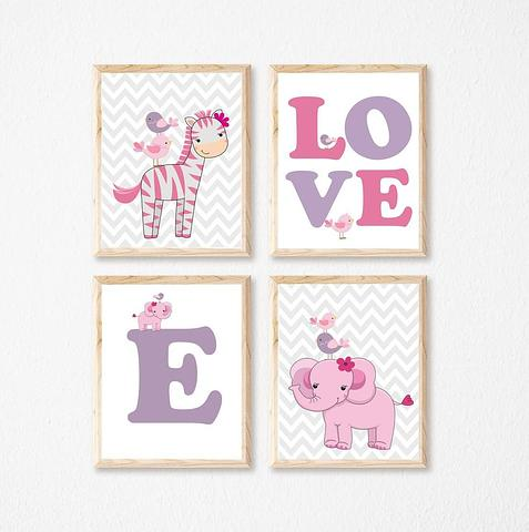Giraffe and Elephants Pink ~ Love~Set of 4