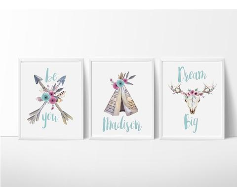 Personalised Boho Wall Art set