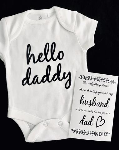 Pregnancy Announcement Onesie and 4x6 inch quote card, Surprise the Dad to be with this set!