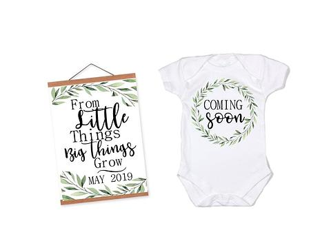 Pregnancy Announcement Onesie, Pregnancy Reveal Baby Onesie and A4 Print